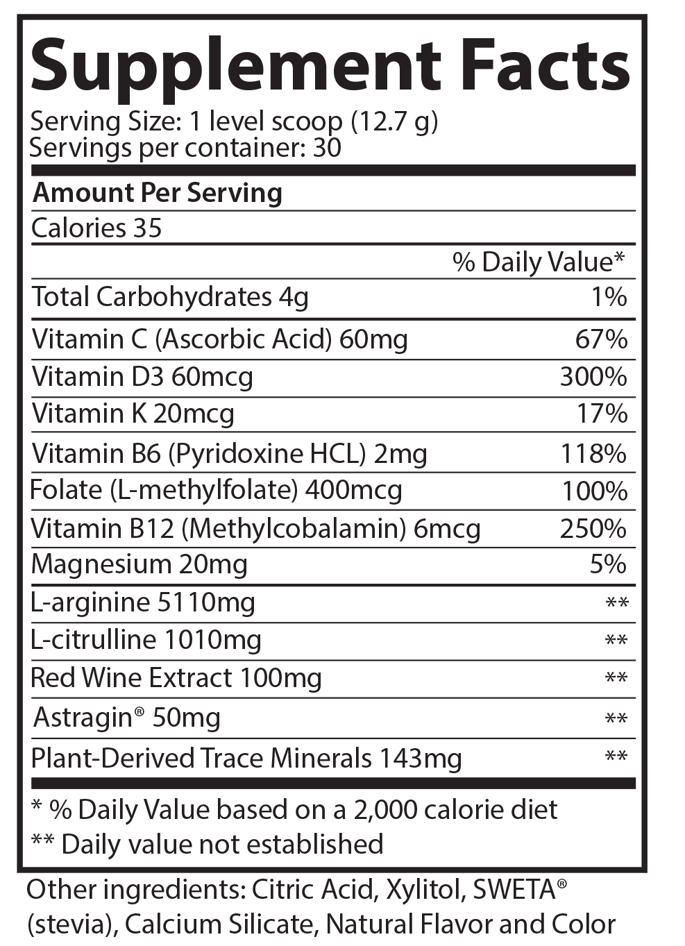 L-arginine Plus Supplement Facts