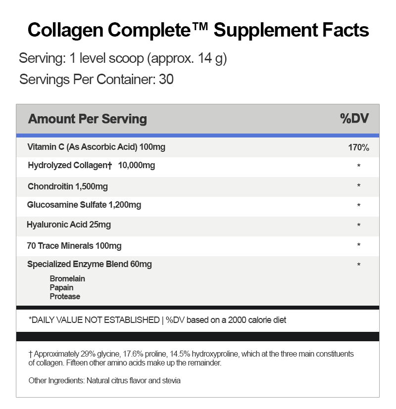 Collagen Complete Supplement Facts