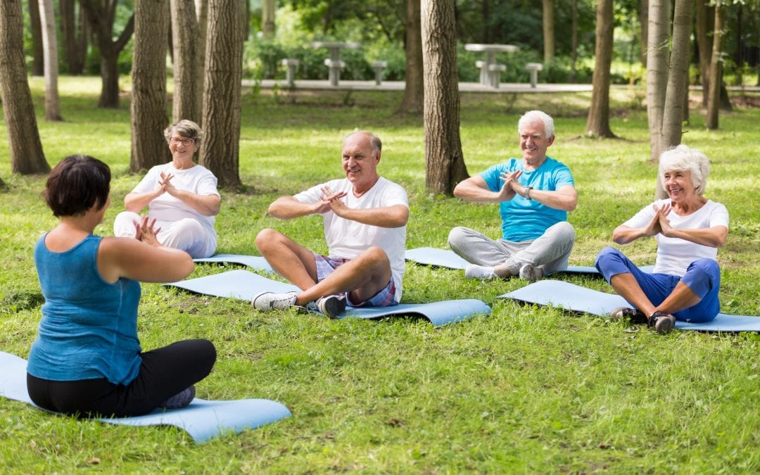 Elderly people sitting on mats in a park