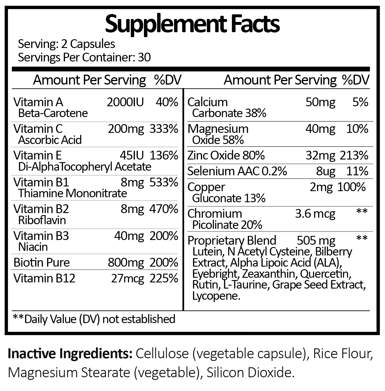 Eye & Vision Supplement Facts