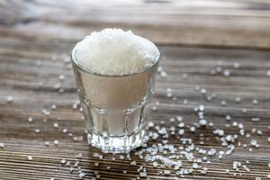 Glass of sea salt