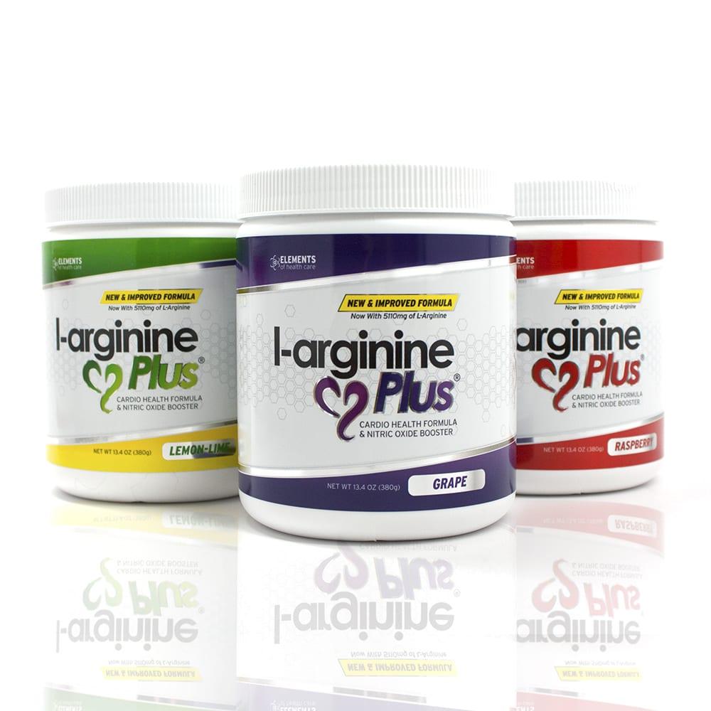 L-arginine Plus jars with three different flavors