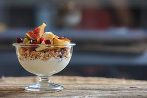 Yogurt, muesli and fresh fruits